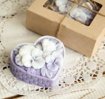 Homemade olive soap gift Basket of flowers lilac