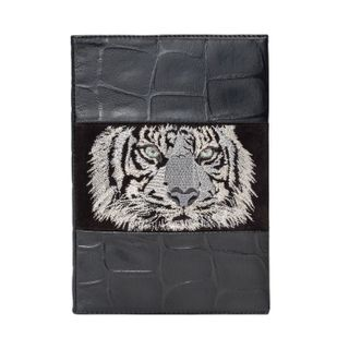 "The diary ""Safari tiger"" in black with silver embroidery"