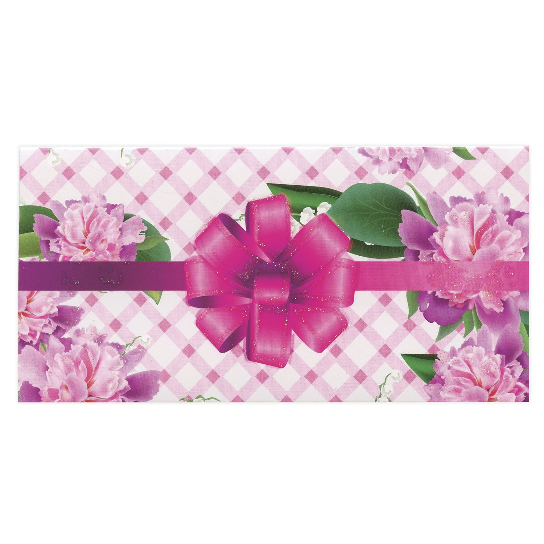 BRAUBERG / Envelope for money, 166x82 mm, sequins, pink bow