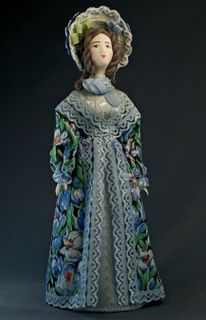 Doll gift porcelain. The provincial lady. The second quarter of the 19th century. Russia.