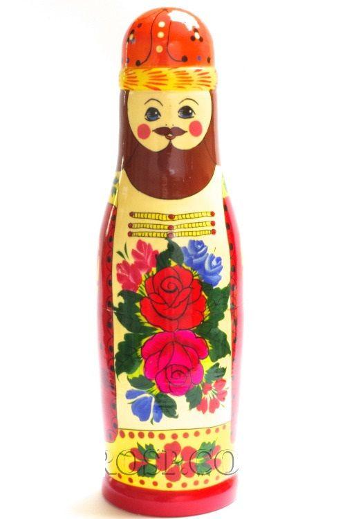 "Semenovskaya painting / Souvenir-case ""Boyarin"" / ""Boyarynya"" - a damask for a bottle of 0.5 liters."