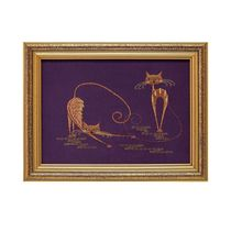 Panels Cats purple color with Golden embroidery