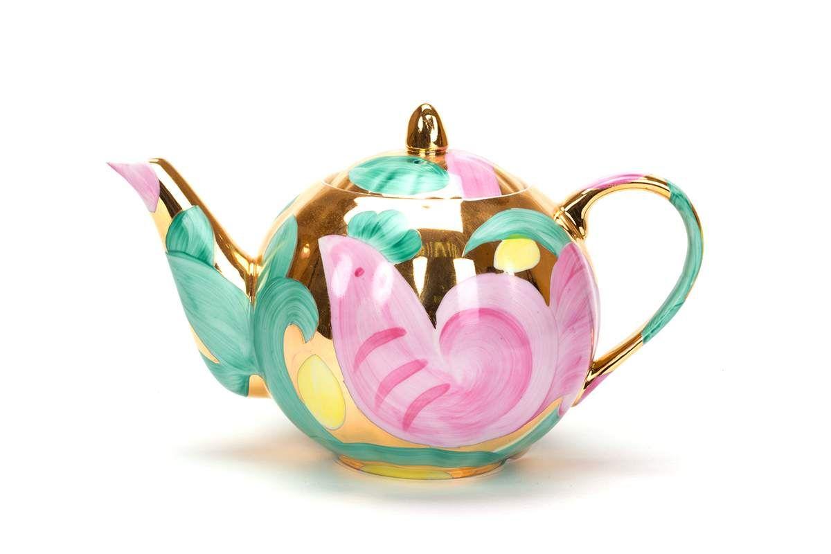Dulevo porcelain / Teapot 750 ml Tulip Pink bird