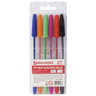 BRAUBERG ball point pens, SET of 6 PCs, ASSORTED, Line, body transparent, the node is 1 mm, roll of 0.5 mm