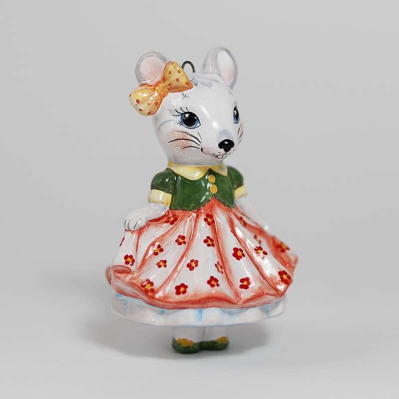 "Yaroslavl majolica / Pendant ""Mouse in a skirt"""