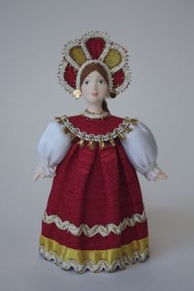 Doll gift porcelain. Girl in summer clothes. 18-19 centuries Russia.