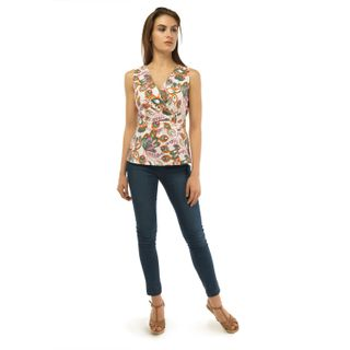 Blouse womens flora white