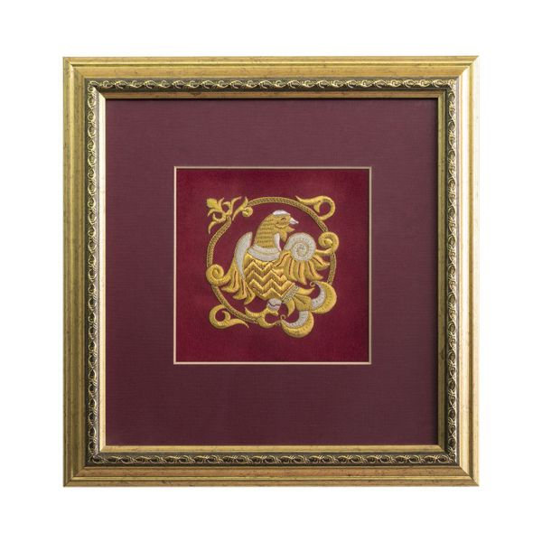 Panels hand embroidery 'Grouse' Burgundy with gold embroidery