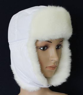 Cap with earflaps with artificial mink fur