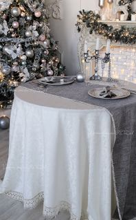 Tablecloth with lace Versailles with grey carpet