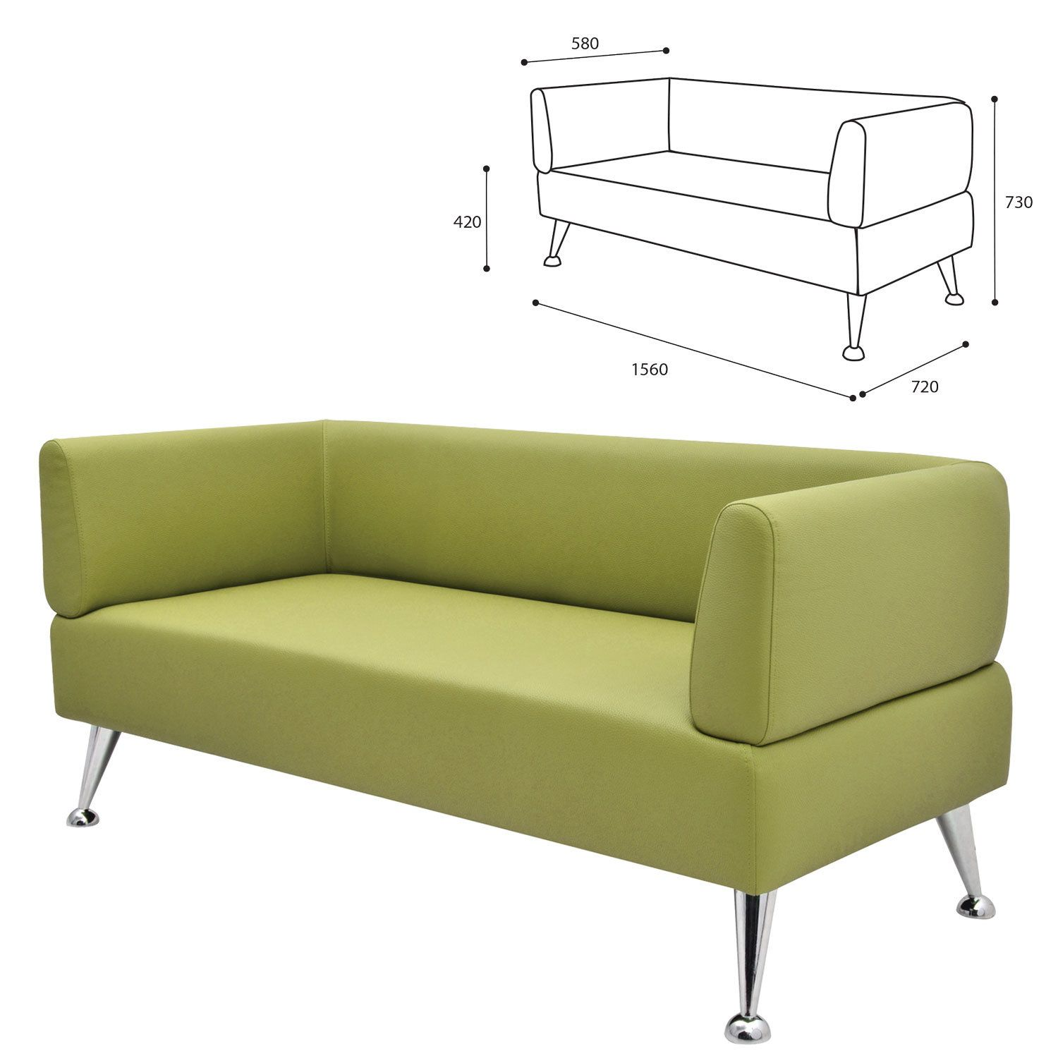 """GARTLEX / Soft three-seater sofa """"Nord"""", """"V-700"""", 1560x720x730 mm, with armrests, eco-leather, light green"""