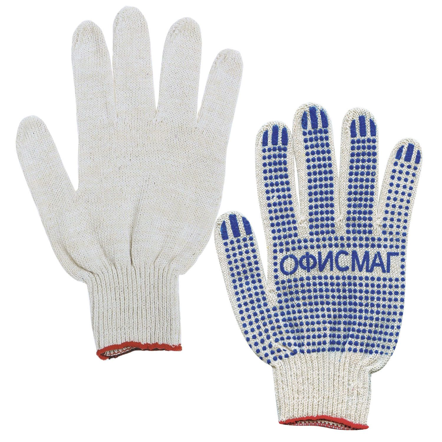 OFFICEMAG / Cotton gloves, SET of 50 PAIRS, grade 10, 32-34 g, 83 tex, PVC dot, WHITE