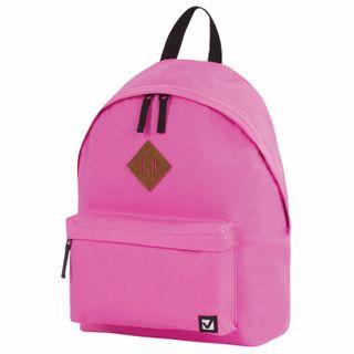 Backpack BRAUBERG, universal, city-format, single-tone, pink, 20 litres, 41х32х14 cm