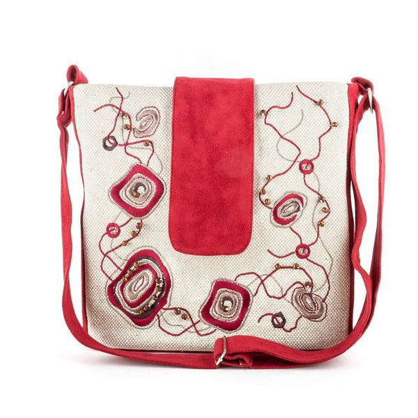 Linen bag 'Orion' gray with silk embroidery