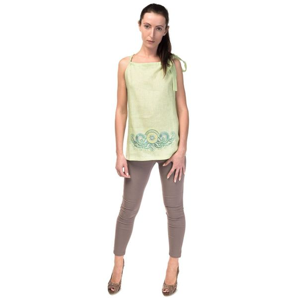 Women's blouse 'deion' green with silk embroidery
