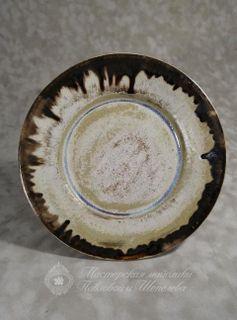 Large dessert plate - effect glaze