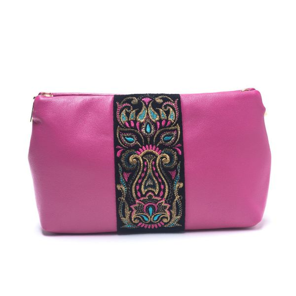Leather cosmetic bag 'Rainbow mood' pink color with Golden embroidery
