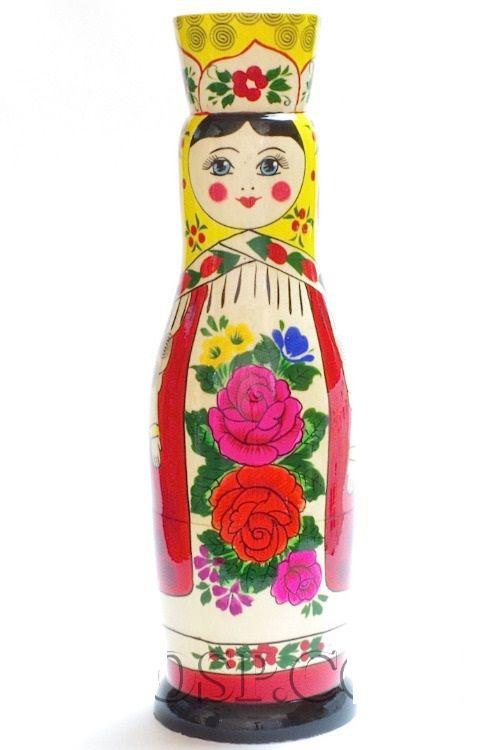 Souvenir case 'Russian Beauty' - damask for a 0.5-liter bottle