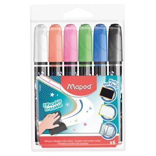 Markers universal for any surface MAPED IN a SET of 6 pieces, ASSORTED, 2 mm