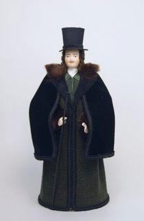 Doll gift porcelain. Secular men's winter suit. 1820-30-ies, Petersburg.