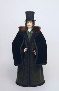 Doll gift porcelain. Secular men's winter suit. 1820-30-ies, Petersburg.