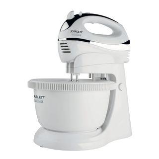 SCARLETT SC-HM40B01 mixer on stand, 450 W, 5 speeds, 2 whisks, 2 batter hooks, bowl, white