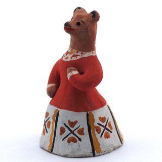 Kargopol clay toy bear in red