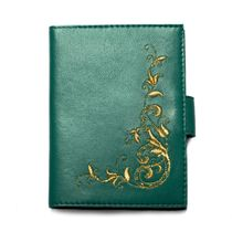 Cover for leads. ID charm green with gold embroidery