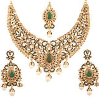 Touchstone Indian Bollywood Desire Traditional Filigree Faux Green Emerald Color Exclusive Grand Bridal Jewelry Necklace Set In Antique Gold Tone For Women