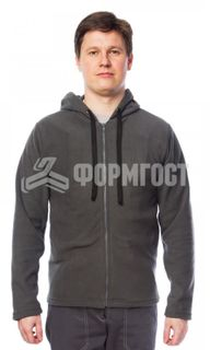 Fleece sweatshirt with hood, dark gray
