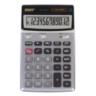 Desktop metal calculator STAFF STF-1612 (175x107 mm), 12 digits, dual power supply