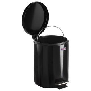 """LIMA / Waste bin (urn) with pedal """"Classic"""", 5 l, black, glossy, metal, with removable inner bucket"""