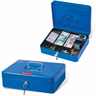 Box for money, valuables, documents, stamps, 90x240x300 mm, key lock, blue, BRAUBERG