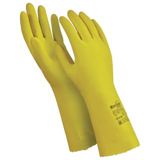 "MANIPULA / Gloves latex ""Shine"", cotton sputtering, size 9-9.5 (L), yellow"