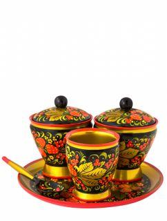 """Khokhloma painting / Table set """"Strawberry"""", 5 items"""