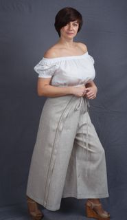 Stylish skirt pants with embroidery