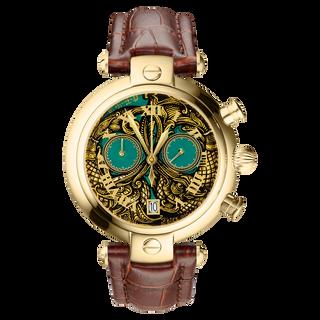 Часы Палех «Орнамент №78» хронограф-кварцевые, авторская ручная роспись, художник Чибисова, коричневый ремешок