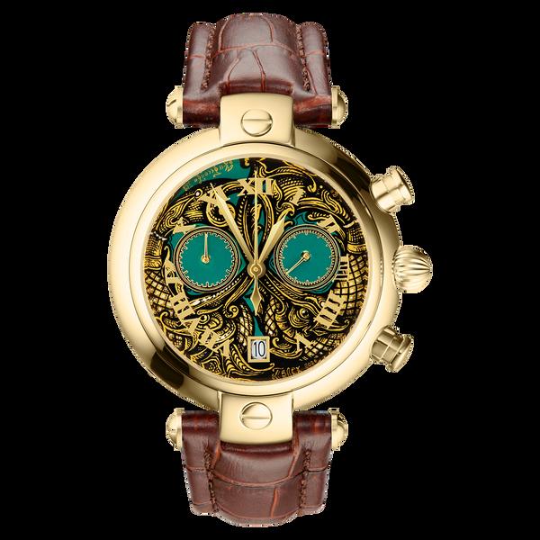 "Palekh watch ""Ornament No. 78"" chronograph-quartz, author's hand-painted, artist Chibisova, brown strap"