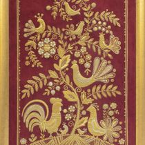 Picture 'the Singing tree' red color with Golden embroidery