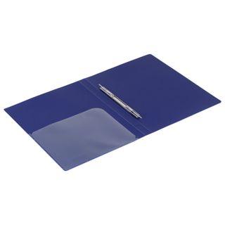 Folder with metal binder and inner pocket BRAUBERG Diagonal, dark blue, 100 sheets 0.6 mm