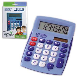 CITIZEN SDC-450NBLCFS Desktop Calculator, COMPACT (120x87 mm), 8 digits, dual power, BLUE