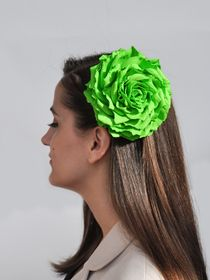Brooch hairpin Rose green lime