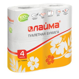 LIME / Toilet paper for household use, soldering 4 pcs., 2-ply (4x19 m), white