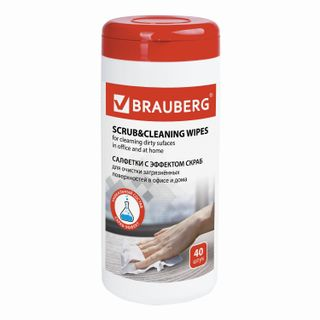 """BRAUBERG / Wet wipes for deep cleaning of plastic, wood and laminated surfaces with """"scrub"""" effect, in a tube 40 pcs."""