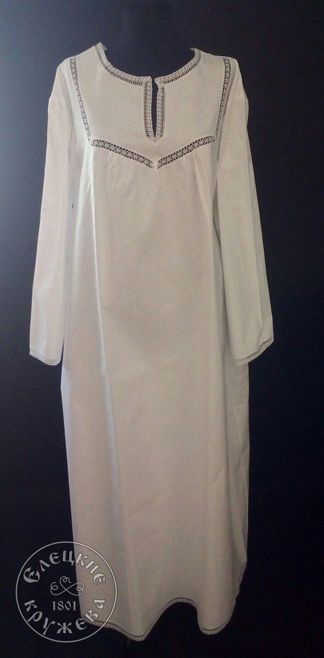 Yelets lace / Nightgown women's linen with long sleeves