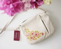 Bag made of eco-leather 'Spring' beige with gold embroidery