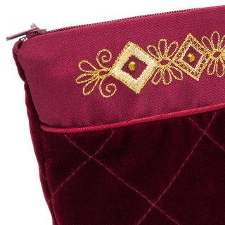 Velvet cosmetic bag maroon Burgundy with silver embroidery