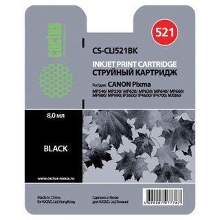 Inkjet cartridge CACTUS (CS-CLI521BK) for CANON Pixma MP540 / 630/980, black photo