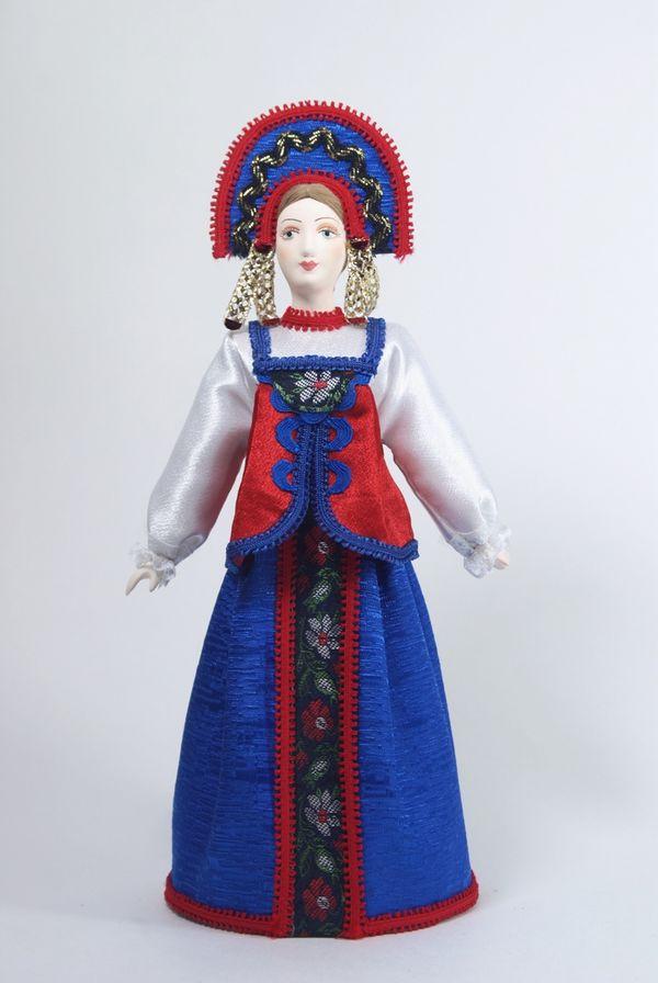 Doll gift porcelain. Nizhny Novgorod province. Russia. Girl's costume.