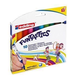 Edding / Funtastics Color Marker Pen Set for Painting, 3mm, 10 Colors, Cardboard Box of 10 Colors